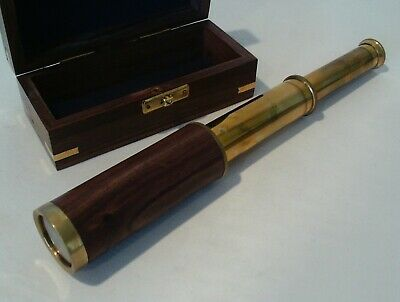 Miniature Extending Telescope - In Wood And Brass Box