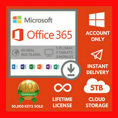 Microsoft Office 365 Lifetime Subscription 5 Devices 5 TB Pc/Mac [ New Instant ]
