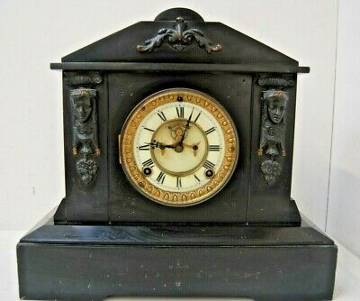 Beautiful Vintage Slate Marble-Style Black Heavy Mantel Clock, spares/repairs