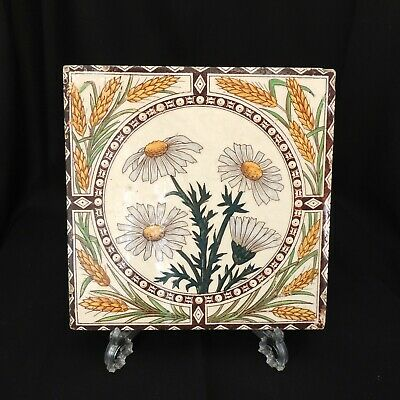 Antique Victorian Daisy`s And Corn Handpainted Tile Signed On Back