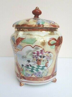 JAPANESE SATSUMA KUTANI HAND PAINTED FANS GEISHA PORCELAIN BISCUIT BARREL 19th C