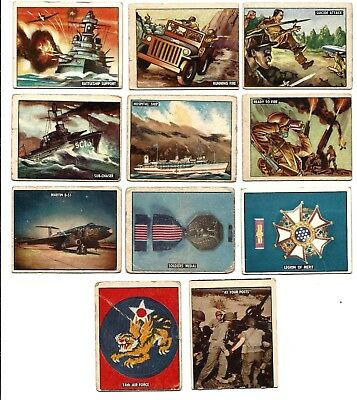 1950 Topps Freedom's War Trading card lot of 11 diff. fair-excellent 2 grey back
