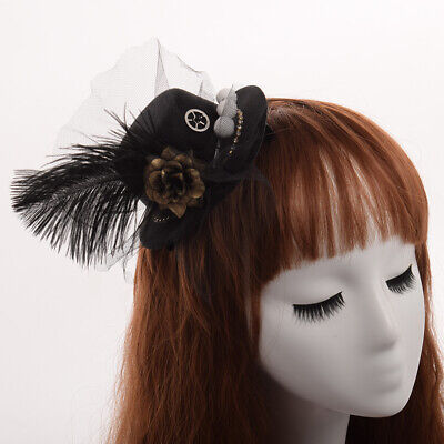 Steampunk Hairclip Head Wear Black Mini Top Hat Retro Feather Flower Mesh
