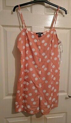 New with tags Primark blush pink and white polka dot playsuit UK 16 US 12