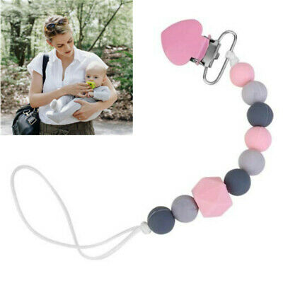 Baby Dummy Clip Holder Pacifier Clip Strap Teething Silicone Beads Soother Chain