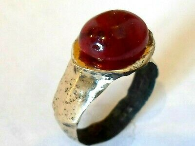 DETECTOR FIND & POLISHED,2nd Century ROMAN BRONZE RING WITH 100% REAL RUBY.