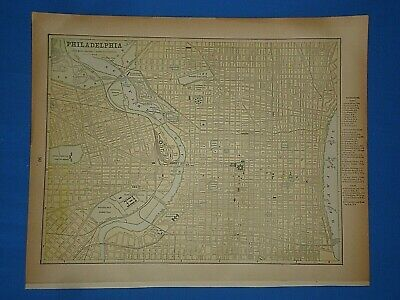 Vintage 1891 PHILADELPHIA Map ~ Old Antique Original Atlas Map 40219