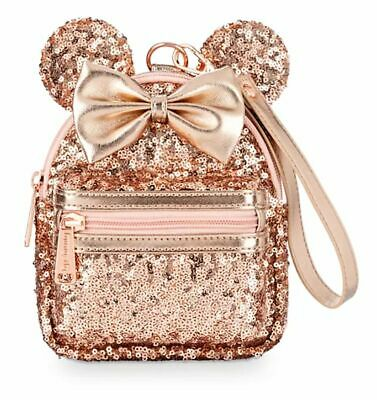 Disney Parks Briar Rose Gold Sequined Minnie Mouse Loungefly Wristlet NWT