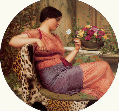 Dream-art Oil painting john william godward - young girl with roses flowers art