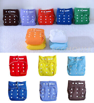 Solid Reusable Nappies Baby Pocket Cloth Diapers One Size Covers Inserts