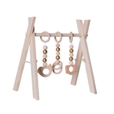 Baby Gym Toys Wood Foldable Play Gym Teether Toys Set Activity Unpainted