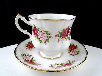 """Paragon England Red And White Floral Gold Rimmed 3"""" Footed Cup And Saucer"""