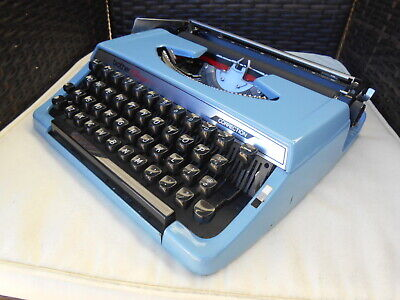 Vintage Blue Brother Charger portable typewriter & case Ex. Cond. 1970s