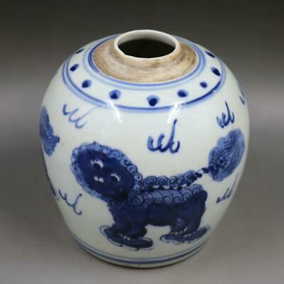 Chinese ancient antique hand make Lion print tea can 34