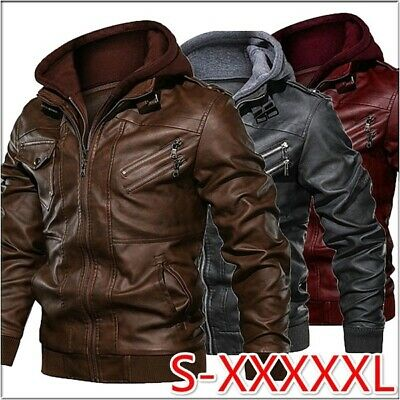 Mens Windproof Hooded Leather Jacket Autumn Casual Slim Fit Zipper Winter Coat