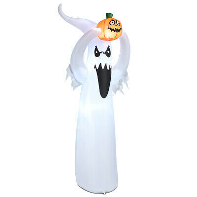 6' Inflatable Ghost Halloween Outdoor Decoration Air Blown Toy w/ Pumpkin LED