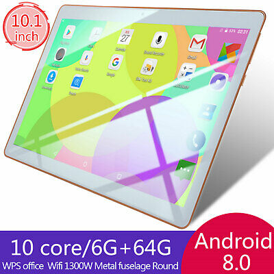 "10.1"" Tablet PC Phablet 8 Core Android 64GB Dual SIM Camera Wifi Phone White USA"