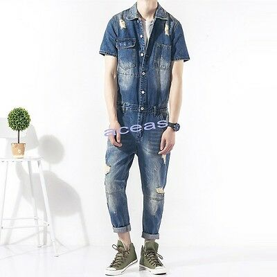 Mens Denim Ripped Overalls Jumpsuits Rompers Casual Pants Slim Jeans Coats Suits