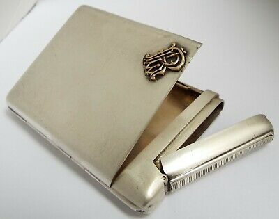 Lovely Rare English Antique 1888 Sterling Silver Combined Cigarette & Vesta Case