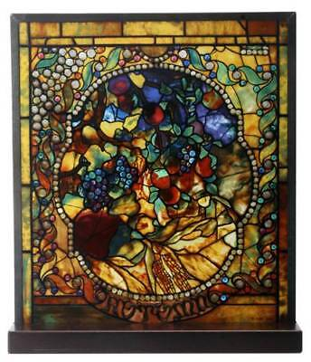 """Tiffany Style The Four Seasons """"AUTUMN"""" Fall Stained Art Glass Window Panel"""