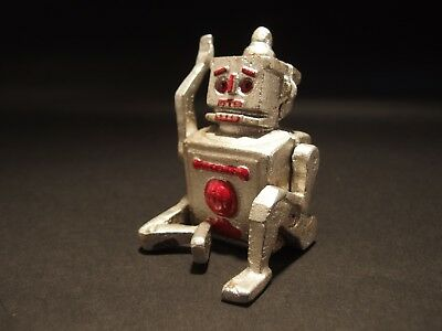 Antique Vintage Style Mini Cast Iron Silver Robert the Robot Toy Paperweight