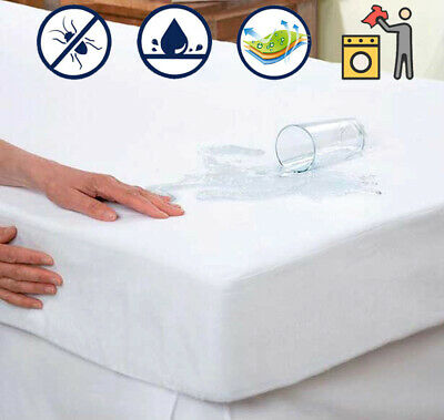 Waterproof Mattress Cover Protector Terry Towel Fitted Deep Pad Bed Sheet Cover