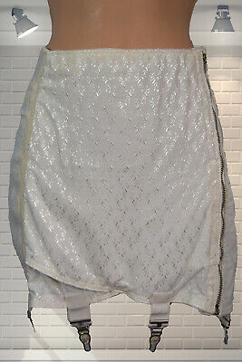 """Wounded Vintage 1950s Lingerie Brocade & Satin Girdle 6 Suspenders - 30"""" W"""