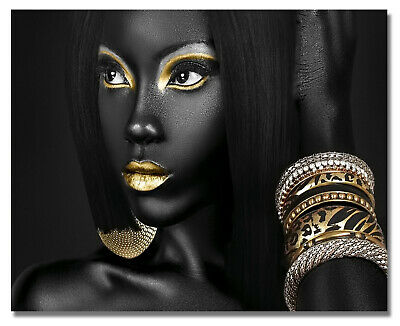 Afro Make-up Girl Art on Canvas Painting Photo Print Home Wall Decor