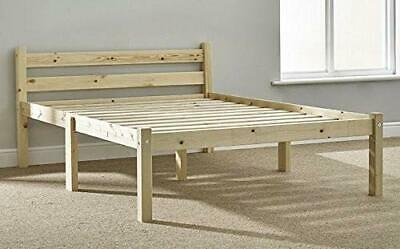 Double Pine Bed Wooden Frame 4,7 Ft with Extra Wide Base Slats and Centre Rail