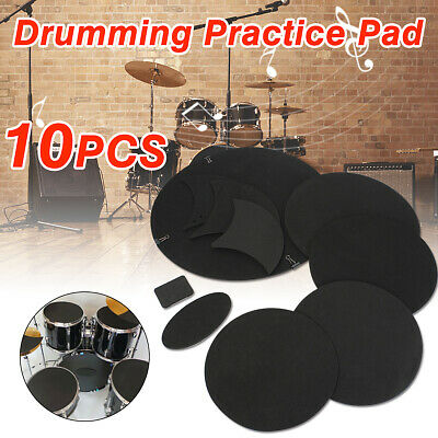 10PCS Bass Snare Drum Off Quiet Drums Mute Silencer Drumming Practice Pad UK