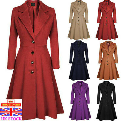 Women Gothic Trench Coat Ladies Casual Winter Wool Blend Jacket Outwears S-3XL T
