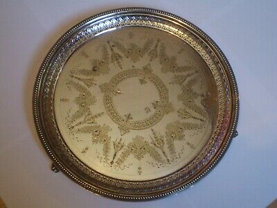 Antique Walker & Hall Silver Plated Engraved Salver. With Rococo Style Feet
