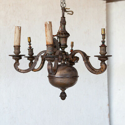 Antique dutch style six arm chandelier