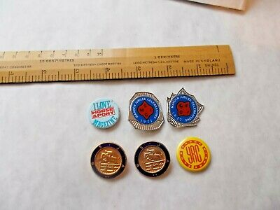 6 Vintage Tin Badges. Enamel Show Jumping,Marden Kent1977 Celebrations Etc