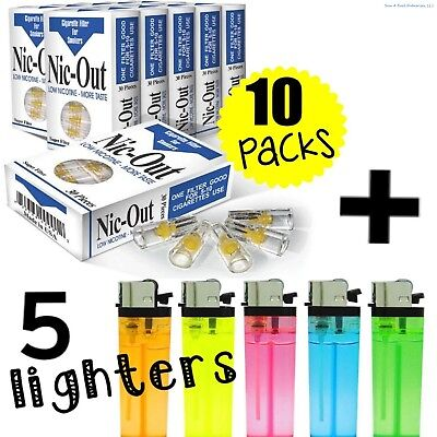 (10) Packs NIC-OUT Cigarette (300 Disposable Filters) + 5 FREE LIGHTERS ~ COMBO