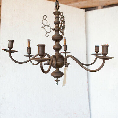 Elegant six arm dutch style chandelier antique brass