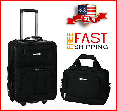 2 Pcs Traveler Carry-on Rolling Luggage Suitcase Tote Bag Set Expandable NEW