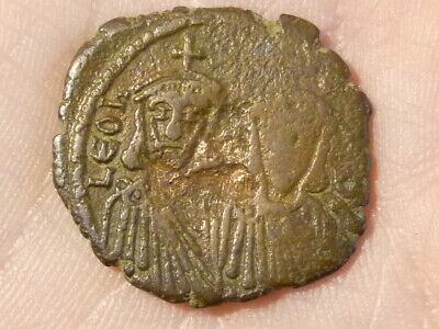 LEO V with CONSTANTINE 813-20 Ancient Byzantine Coin 24mm  #Q282