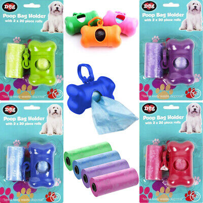 Dog Poo Waste Bag Holder Dispenser Lead Clip Pet Puppy Poop Scoop 60 Refill Bags