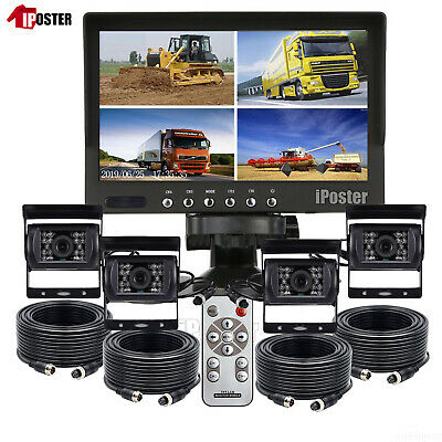 "7"" Quad Splitscreen Monitor IR CCD Reversing 4 Camera Package 4PIN Kit Truck Van"