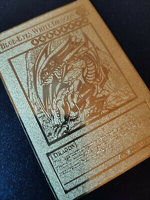 Fan Custom Golden Metal Card Yu-Gi-Oh! Blue-Eyes White Dragon Orica Gold
