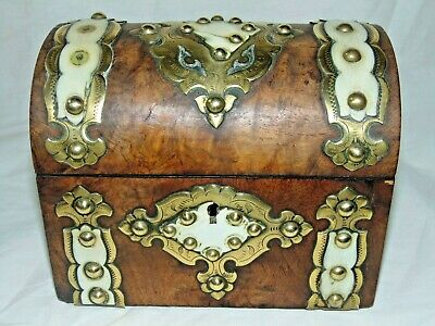 ANTIQUE VICTORIAN 1800's ORNATE BRASS MOUNTED DOME TOPPED BOX