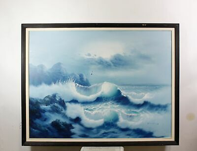 Vintage Painting Seascape Breaking Waves Signed