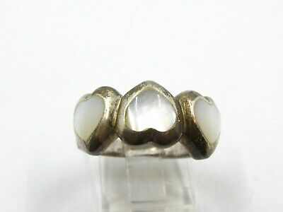 Estate Sterling Silver Mother of Pearl Hearts Ring 5.8g