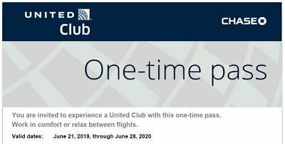 United Airlines Club one-time pass good through Jun 28, 2020
