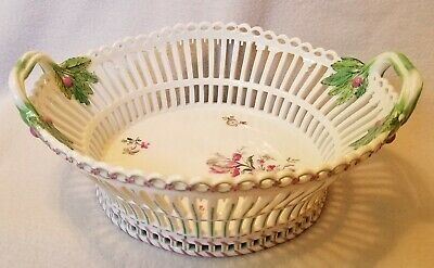 Circa 1820-1830 KPM Porcelain Reticulated Basket Hand Painted Floral Decoration