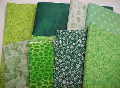 Mix Lot Vintage Cotton Quilt Fabric Shades of GREEN Quilters Material Sew Estate