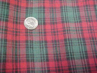 Vintage Cotton Quilt Fabric Red Green Plaid Quilters Material Sew Crafts 5 Yard