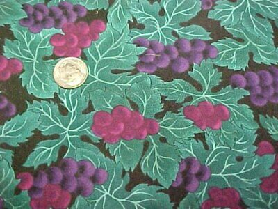 Vintage Cotton Fabric Quilt Sew Material Grapes Foliage Turquoise Purple 44x2Yd