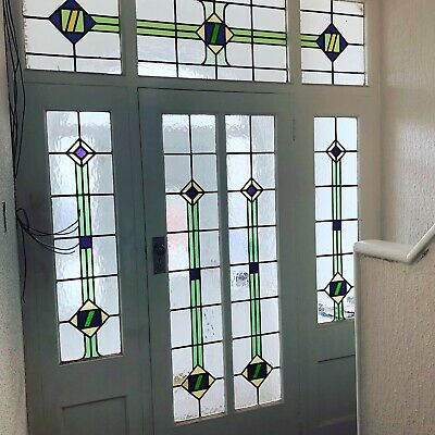 1930s Art Deco Stained Glass Vintage Front Porch Door With Surround